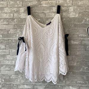 Roamans white lace lined shirt navy ribbon trim